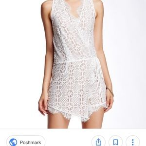 Nordstrom white/nude wrap front lace romper